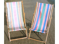 Collectable Vintage x2 Wooden Folding Deck Chairs Canvas Seats (WH_2551)