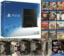 Sony PlayStation 4 500GB Jet Black (12 Great Games + 4 Controllers + Camera)