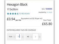 Matt Black Hexagonal ceramic wall/floor tiles £35