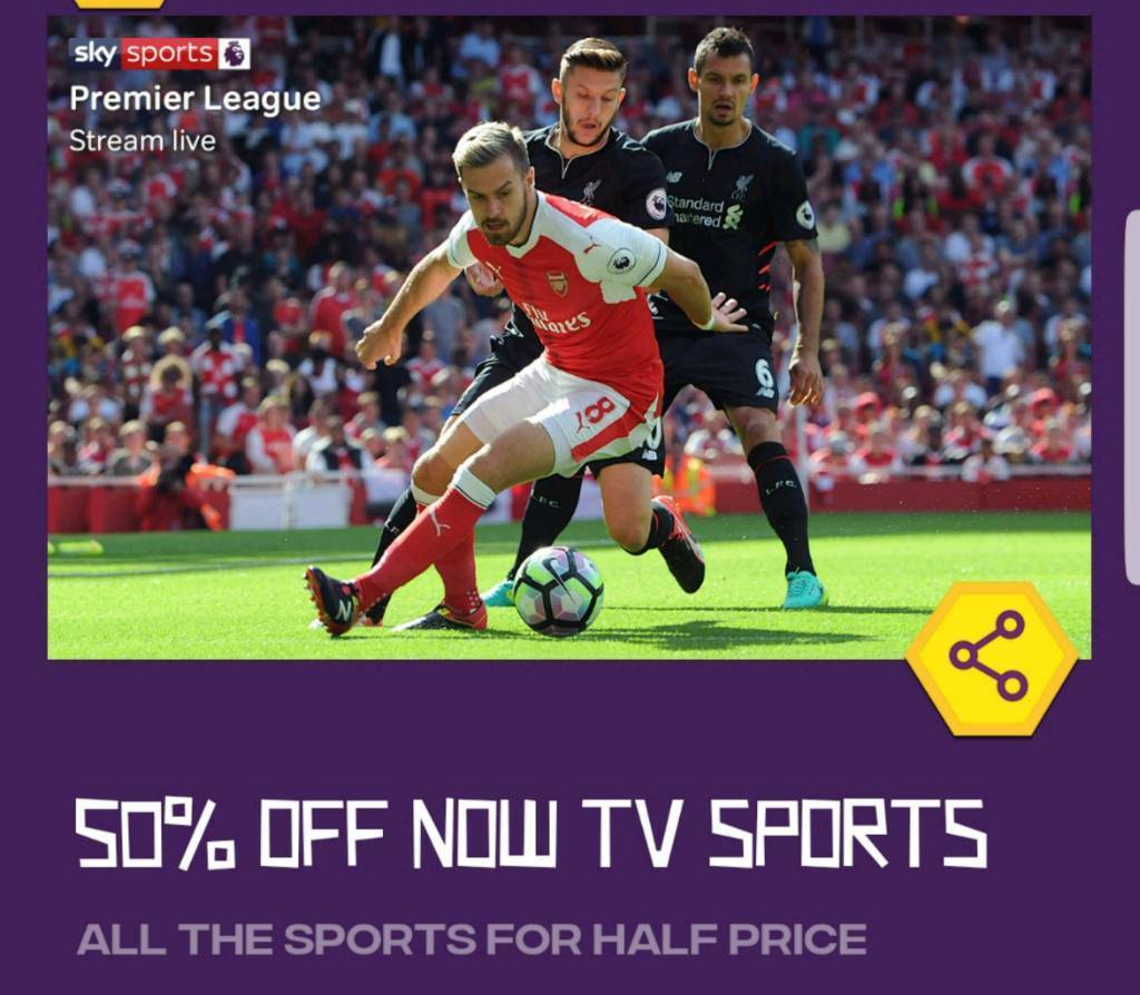 50% off Now TV Sports