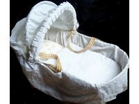 Wicker moses basket with mattress & broderie anglaise small quilt & outside cover.