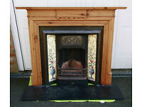 Cast Iron Fireplace, Marble Hearth and Pine Surround Mantle