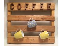 Coffee Cup Mug Rack, Coffee Cup Holder, Rustic , Handmade From Reclaimed wood - Antique Pine Beeswax