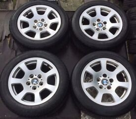 "16"" Genuine BMW 520D Alloy Wheels & Tyres 205/55R16 E39 E60 525d 520 530d 535d"