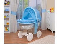 Wheeled wicker crib/moses basket with hood and bedding set and mattress..... .