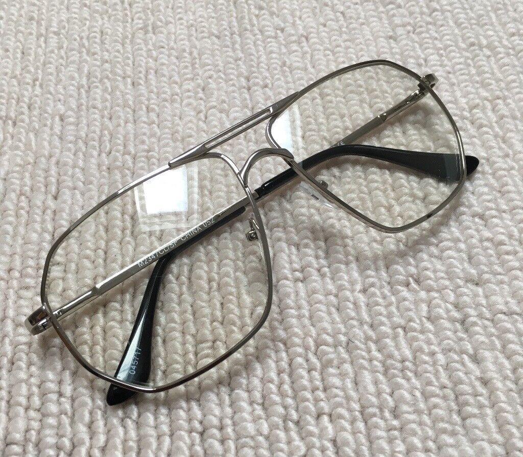 cf1ae4076f33 Silver Vintage Aviator Retro Pilot Clear Lens Sunglasses. Ealing