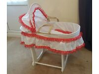 Moses Basket and 5 piece cot set