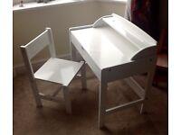 Childs desk plus chair, white, excellent condition