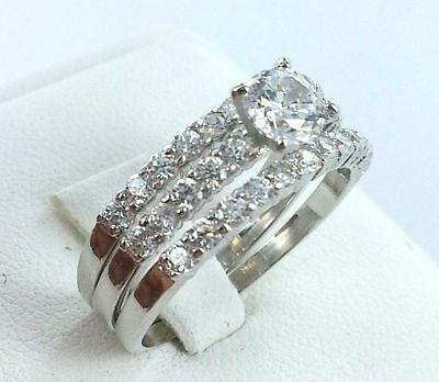 3-in-1 Swarovski Crystal CZ 18K White Gold GP Engagement Wedding Band Ring