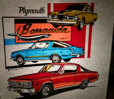 Vintage Retro 1st Gen Barracuda Heat Press Transfer Lot Of 2