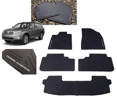2008-2013 Highlander Floor Mats All Weather Mats 5PC Set (W/3RD ROW MAT) Toyota 3rd Row Mat Set