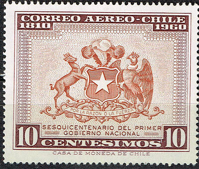 Chile Country Coat of Arms Eagle and Deer stamp 1960 MNH