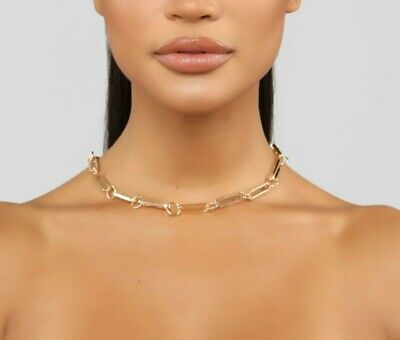 Stylish Fashion Trendy It Sexy Chain Link Necklace Choker Gold Only Size OS  Sexy Chain Link
