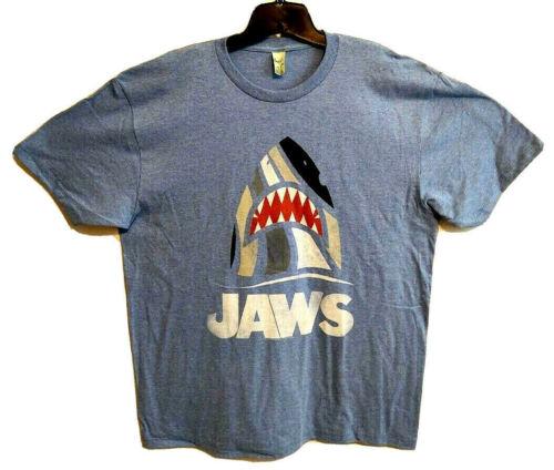 JAWS Shark Graphic Tee Shirt Classic Horror Tee Monster Ocean Creature Boat Blue