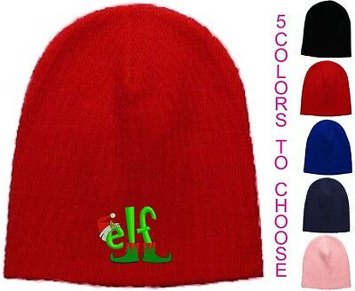 Elf Embroidered Skull Cap - Available in 5 Colors - Beanie Hat - Christmas - Elf Cap