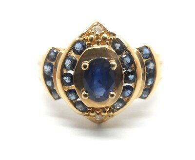 14K YELLOW GOLD OVAL SHAPED GENUINE SAPPHIRE AND DIAMOND RING Oval Shaped Sapphire Ring