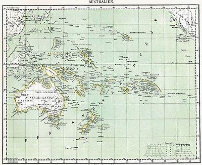 Echte alte Landkarte AUSTRALIA Papua Neuguinea Pazifik Südsee Newzealand 1860