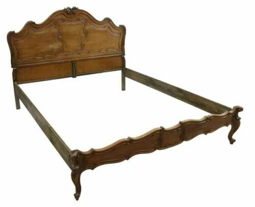 Antique Bed, Louis XV Style Carved Walnut Bedframe, Early 1900s, Beautiful!!