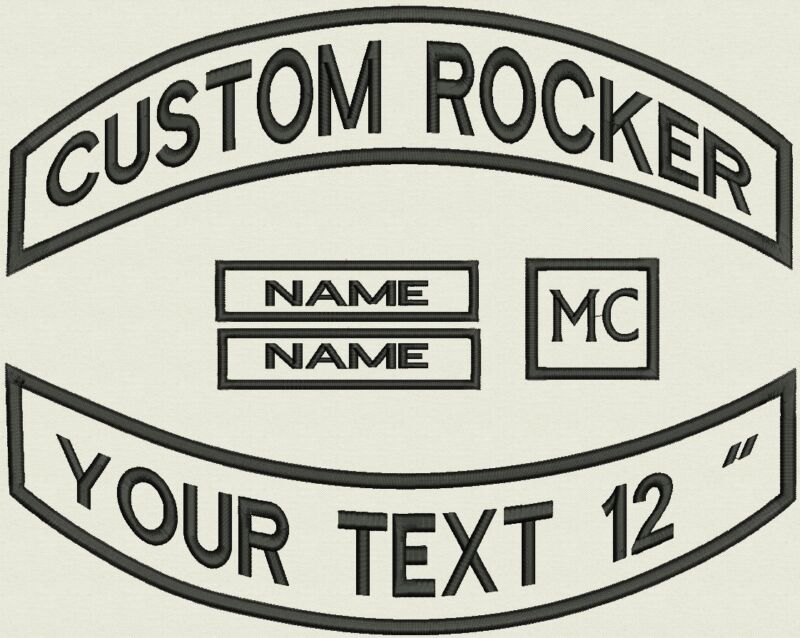 """5 Pieces Custom Embroidered Pointed Rocker Patch Set Biker Motorcycle Badge 12"""""""