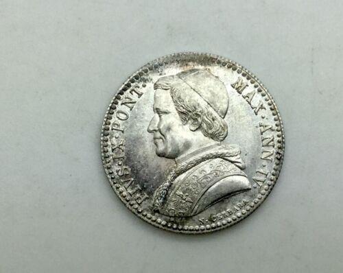 1850 R 20 Baiocchi Silver Vatican Papal States Pius IX KM#1337