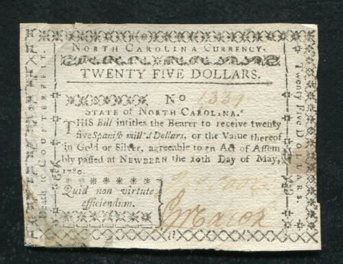 NC-191 MAY 10, 1780 $25 TWENTY FIVE DOLLARS NORTH CAROLINA COLONIAL CURRENCY
