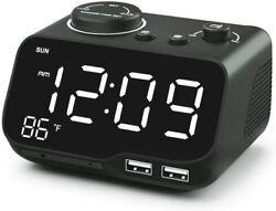 Digital Dual Alarm Clock Radio with USB Charging Port,Temperature&Large Display