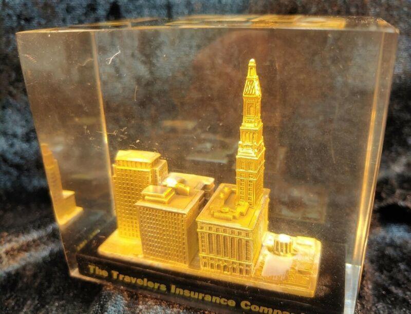 Travelers Insurance Complex Paperweight Souvenir Buildings