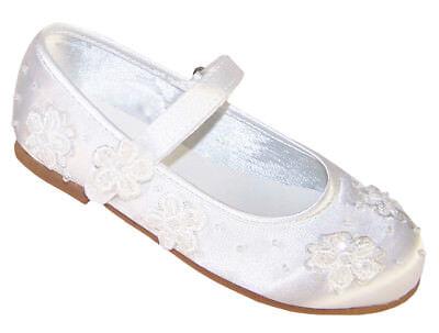 Girls White Satin Ballerina Shoes Flower Girl Communion Confirmation Occasion (Flower Girl Satin Shoes)