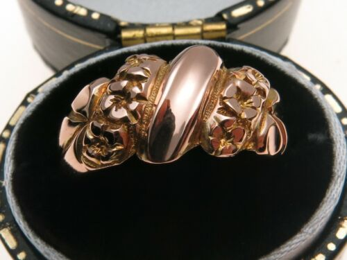 Antique 9ct Rose Gold Ornate Band Ring Chester 1916 in Period Style Box