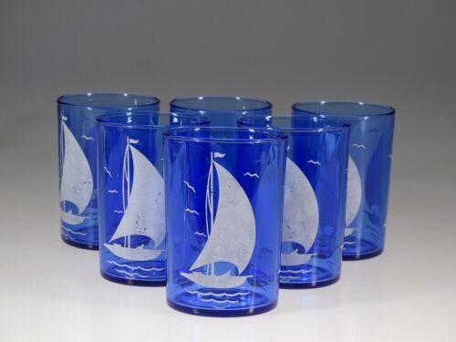 Set of 6 Hazel Atlas Cobalt Blue Glass Ships Sportsman Series Bar Tumblers c1939