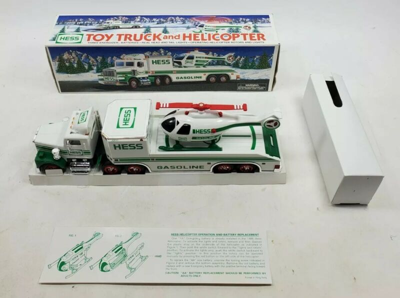 1995 HESS Toy Truck and Helicopter New in Box Untested No Batteries Included