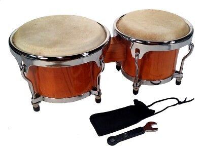 "Zenison - BONGO DRUMS 8+9"" SET, NATURAL WOOD Dual Bongos WORLD LATIN Percussion"