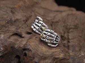 925 Sterling Silver Skull Skeleton Hand Skeleton Goth Punk Hoop Earrings 1 Pair