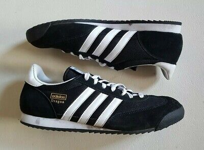 ADIDAS DRAGON TRAINERS BLACK WHITE SUEDE UPPERS SIZE UK 10 EU 44.5 EX-DISPLAY