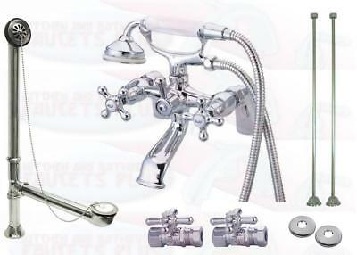 Deck Mount Tub (Chrome Deck Mount Clawfoot Tub Faucet Kit  With Drain - Supplies - Stops)