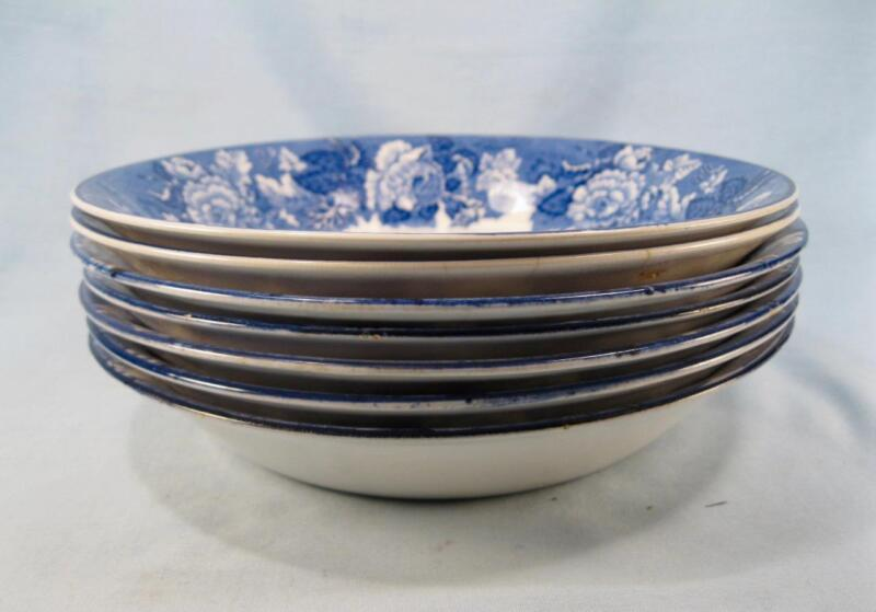 7 English Scenery Blue Coupe Soup Bowls E Wood & Sons Transferware (O2) AS IS