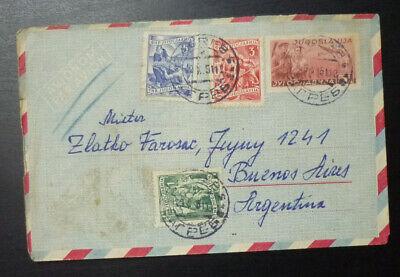 Croatia 1951 Yugoslavia Airmail Stationery Envelope to Argentina - Aviation AD14