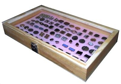Natural Wood Glass Top Lid Pink Cufflinks Jewelry Display Storage Box Case