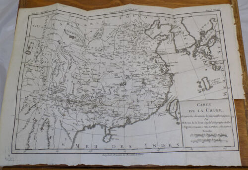 1783 DETAILED TOPOGRAPHICAL MAP OF CHINA, Plus Area-Related Text