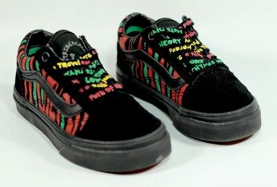 VANS OLD SKOOL (ATCQ) X Tribe Called Quest Black Red Green Kids Shoes Size 10.5