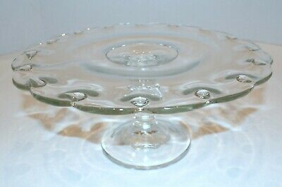 Vintage Indiana Glass Clear Teardrop Footed Pedestal Cake Plate Stand - 11