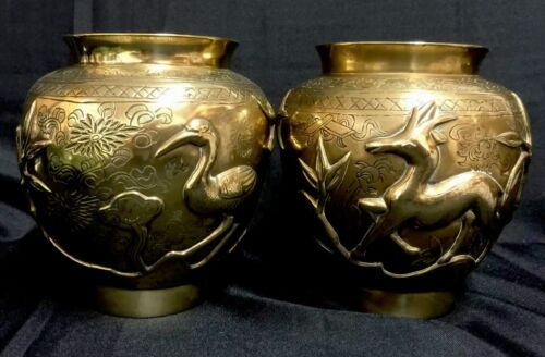 A PAIR OF CHINESE POLISHED BRONZE URNS / VASES - EARLY 1900'S - QING DYNASTY