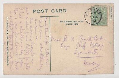 Watchet 5 Aug 1909 Single Ring Postmark 849b