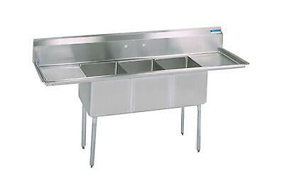 Bk Resources Three Compartment Sink 18x18 W Two 18in Drainboards Nsf