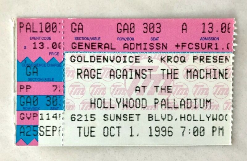 RAGE AGAINST THE MACHINE 1996 CONCERT TICKET STUB EVIL EMPIRE TOUR HOLLYWOOD