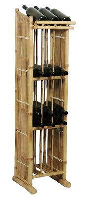 Bamboo Wine Storage Rack Tiki 4 Shelf Patio Deck Indoor or Outdoor Standing