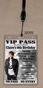 BIRTHDAY VIP PASS INVITATION & LANYARD SINGLE SIDE JUSTIN BIEBER / ONE DIRECTION