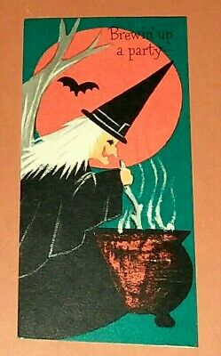 Vintage *UNUSED* Halloween Invitation: Witch, Bubbling Cauldron, Cat & ~Hallmark