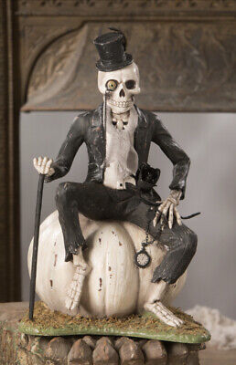 Bethany Lowe Halloween Mr. Skeleton On A Pumpkin —NEW FOR 2020!