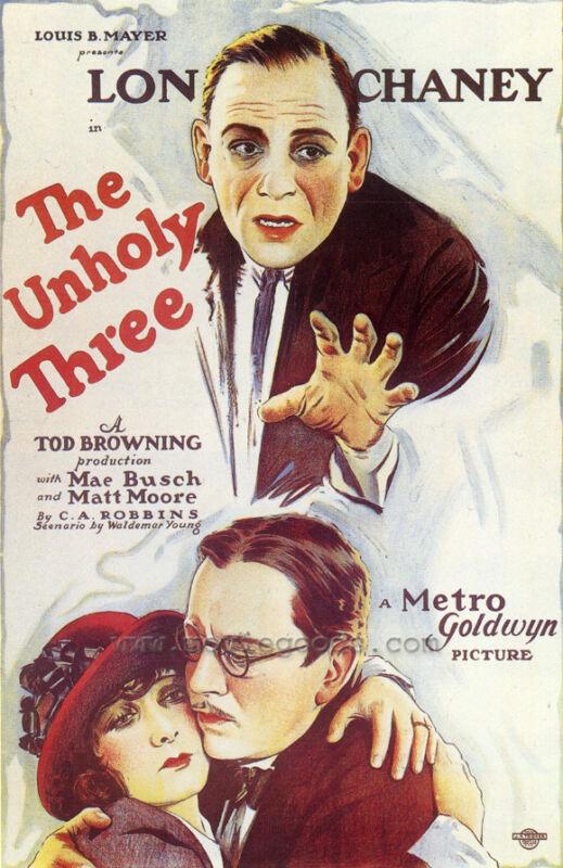 THE UNHOLY THREE Movie POSTER 27x40 Lon Chaney Sr. Lila Lee Elliott Nugent Harry